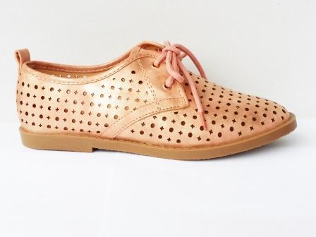 Pantofi dama roz, sport, material perforat.