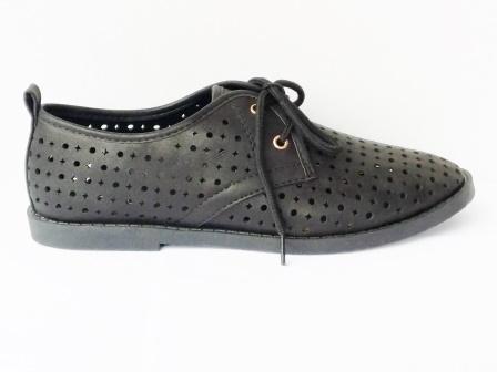 Pantofi dama negri, sport, material perforat.