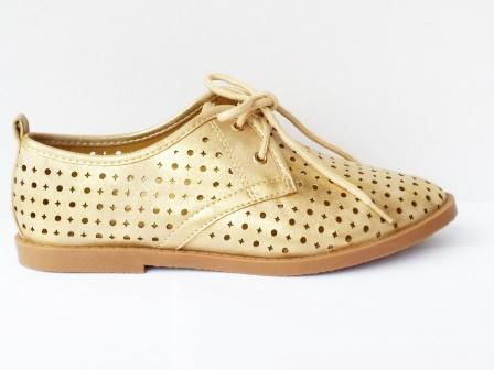 Pantofi dama aurii, sport, material perforat.