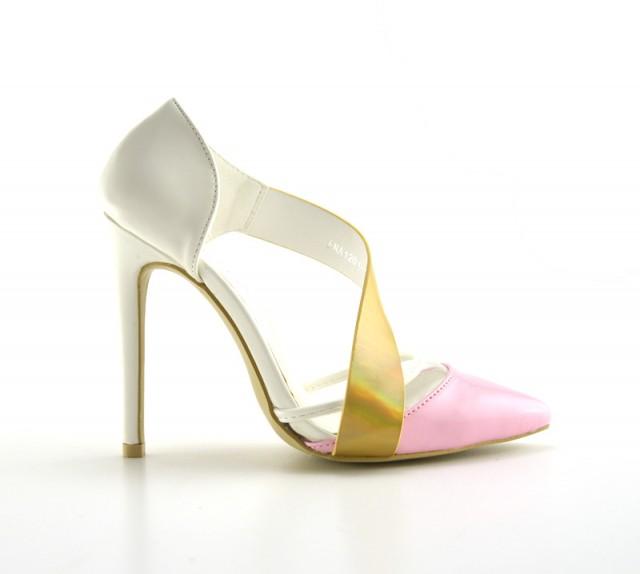 Pantofi dama roz cu alb si auriu , eleganti, cu toc de 9 cm