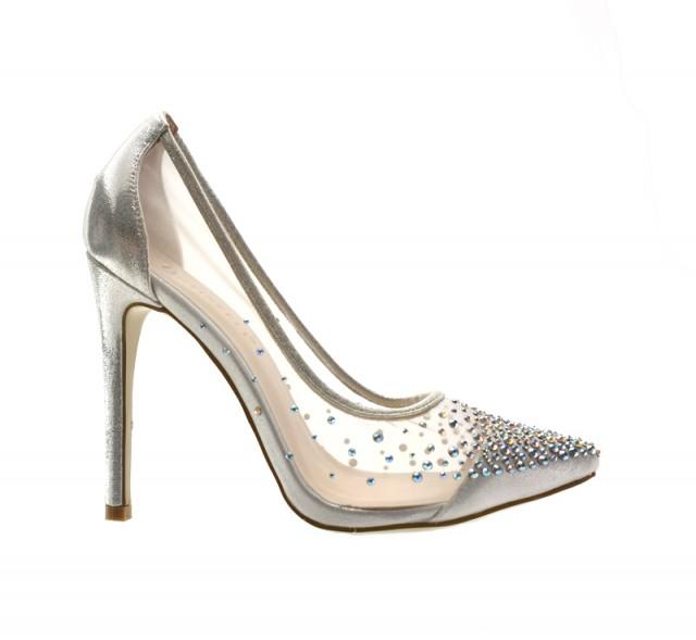 Pantofi dama argintii ,cu toc de 10 cm, material foarte fin, translucid si strasuri fin aplicate