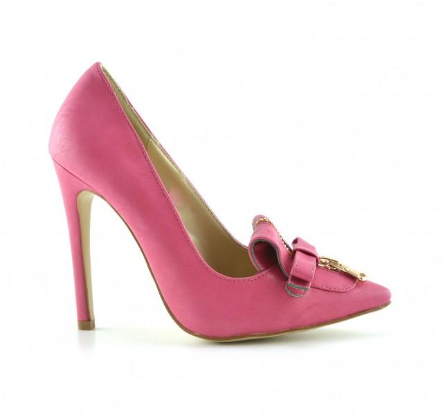 Pantofi dama roz , eleganti, cu toc de 10 cm si accesoriu tip fundita cu fermoar