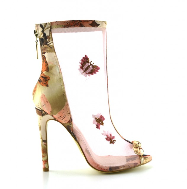 Pantofi dama roz, cu toc de 10 cm, material textil translucid cu accesorii delicate.
