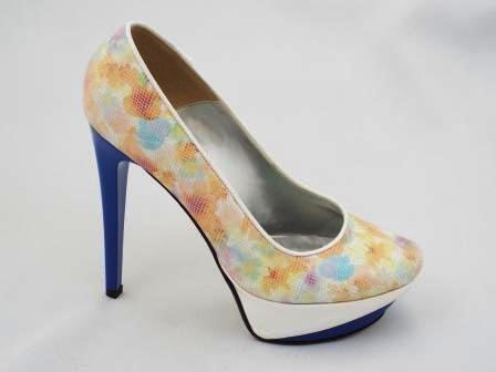 Pantofi dama pastelati CORY din piele naturala premium tip sarpe , cu toc inalt.