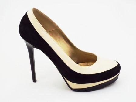 Pantofi dama negru cu bej CORY, din piele intoarsa naturala premium neagra & piele naturala bej, cu toc inalt.