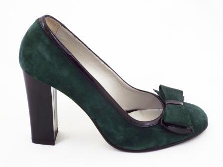 Pantofi dama verzi CORY din piele intoarsa naturala premium , cu toc .