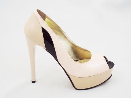 Pantofi dama bej/negru CORY, din piele naturala premium , cu toc inalt.