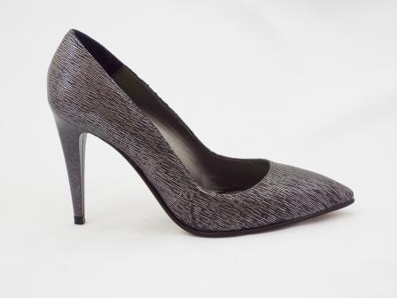 Pantofi dama argintii CORY, tip STILETTO, din piele naturala premium.