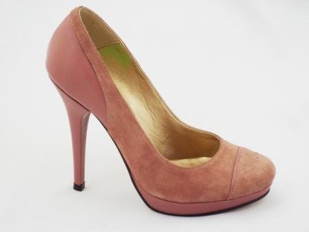 Pantofi dama maro CORY din piele intoarsa naturala premium , cu toc inalt.