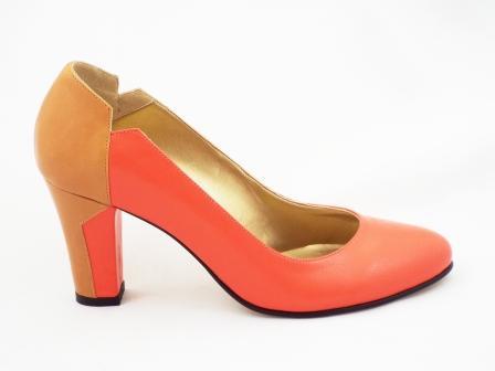 Pantofi dama portocaliu/bej CORY, din piele naturala premium .