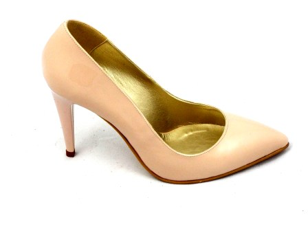 Pantofi dama bej, CORY STILETTO, din piele bej lacuita, cu toc de inaltime medie