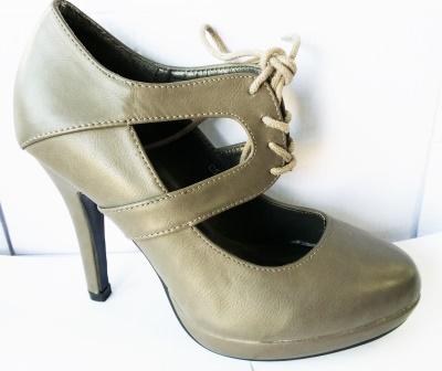 Pantofi dama gri, cu platforma, toc de 9 cm, material imitatie piele si model siret
