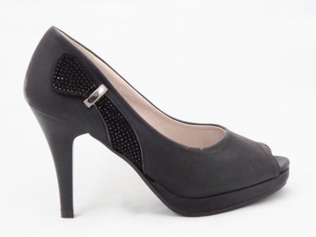 Pantofi dama negri cu toc de 8 cm,cu strasuri si accesoriu metalic