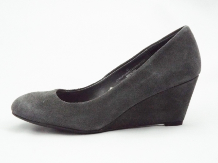 Pantofi dama gri, din piele naturala intoarsa, cu toc ortopedic