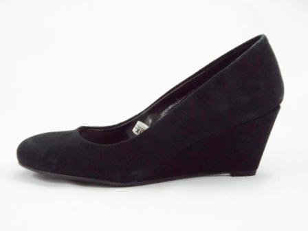 Pantofi dama negri, din piele naturala intoarsa, cu toc ortopedic