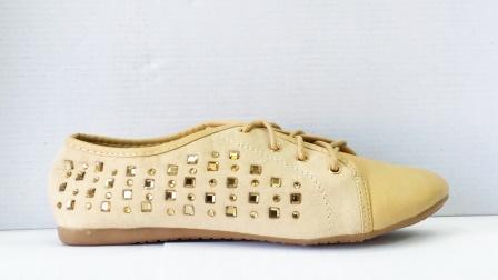 Pantofi dama bej, imitatie piele intoarsa, cu strasuri