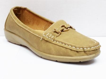 Pantofi dama bej cu accesoriu metalic frontal