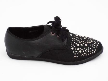 Pantofi dama negri, material exterior panza&imitatie piele