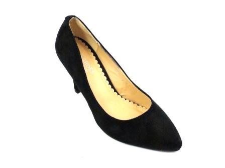 Pantofi dama negri eleganti imitatie piele intoarsa cu toc de inaltime medie