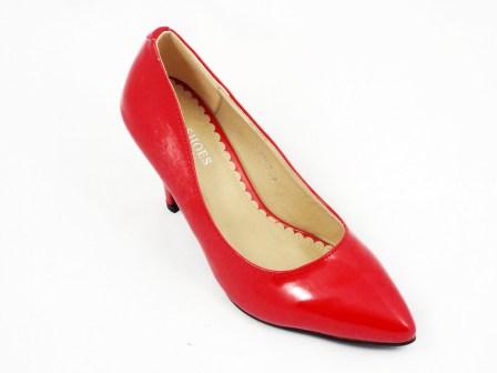 Pantofi dama rosii eleganti cu toc de inaltime medie