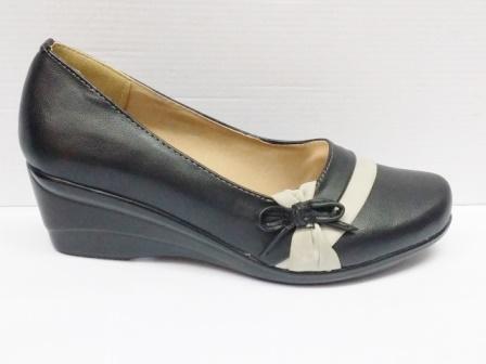 Pantofi dama negri, talpa ortopedica si material piele eco cu accesoriu fundita