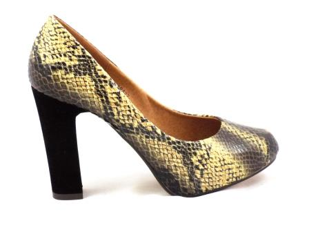 Pantofi dama bej imitatie piele tip CROCO.