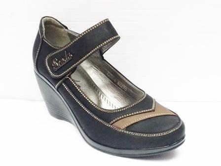 Pantofi dama negri eleganti cu talpa ortopedica si bareta