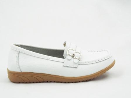 Pantofi dama albi, din piele interior si exterior.