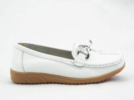 Pantofi dama albi din piele naturala