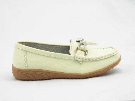Pantofi dama bej, piele interior si exterior.