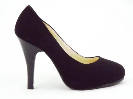 Pantofi dama negri eleganti cu toc inalt gen piele intoarsa