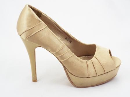 Pantofi dama bej-aurii,eleganti, cu toc inalt