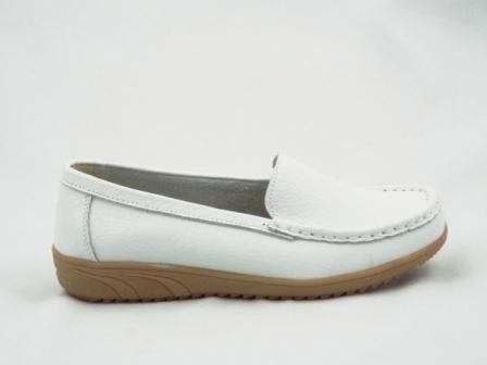 Pantofi dama albi, piele naturala
