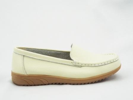 Pantofi dama bej, piele interior/exterior, cu talpa comfortabila