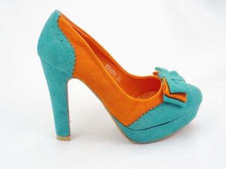Pantofi dama albastru cu portocaliu, eleganti, imitatie piele intoarsa, cu toc inalt
