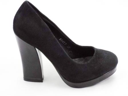 Pantofi dama negri eleganti imitatie piele intoarsa cu toc inalt