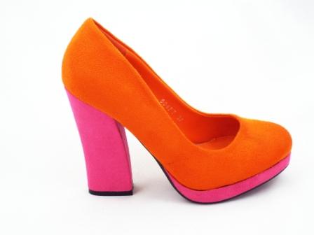 Pantofi dama portocaliu/roz eleganti imitatie piele intoarsa cu toc inalt