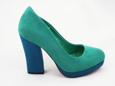 Pantofi dama verzi, eleganti, imitatie piele intoarsa, cu toc inalt