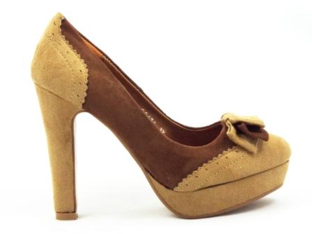 Pantofi dama maro eleganti, imitatie piele intoarsa, cu toc inalt