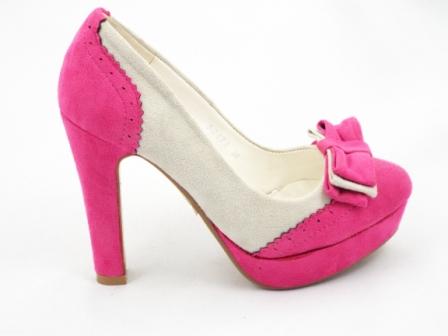 Pantofi dama roz/alb eleganti, imitatie piele intoarsa, cu toc inalt