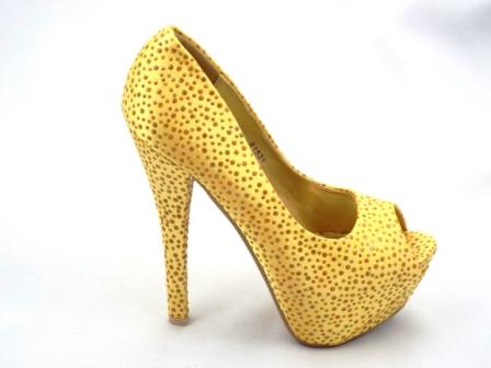 Pantofi dama galbeni, cu strassuri, toc inalt, satinati