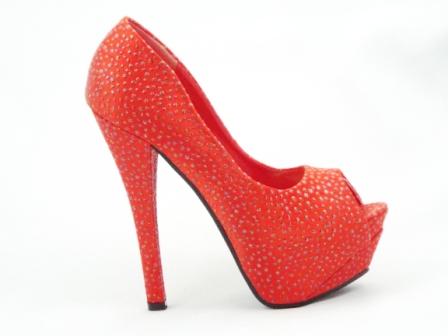 Pantofi dama rosii, material satinat, cu strassuri, toc inalt