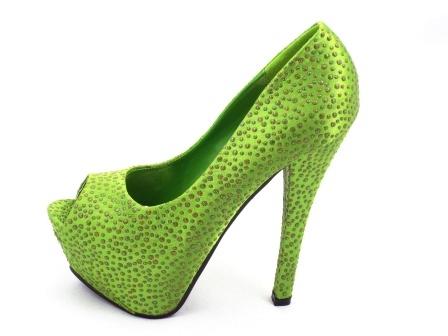 Pantofi dama verzi, cu strassuri, toc inalt