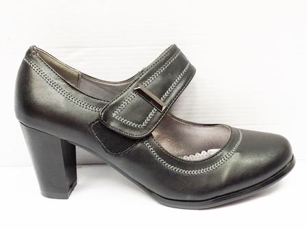 Pantofi dama negri eleganti cu talpa ortopedica si bareta cu prindere pe arici