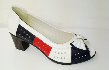 Pantofi dama alb cu negru si portocaliu, cu toc de 4 cm, decupati in fata