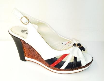 Sandale dama albe cu portocaliu si negru, elegante, cu talpa ortopedica