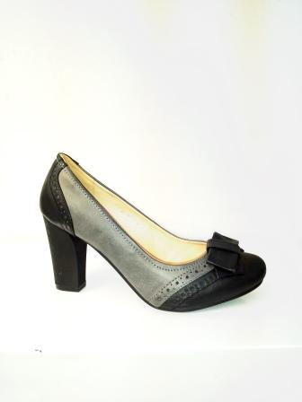 Pantofi dama negru & gri, eleganti , cu platforma si toc de 7 cm, material imitatie piele, cu accesoriu fata tip fundita