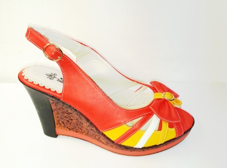 Sandale dama portocalii cu alb si galben, cu talpa ortopedica