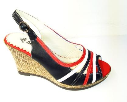 Sandale dama negre cu portocaliu si alb, cu talpa ortopedica