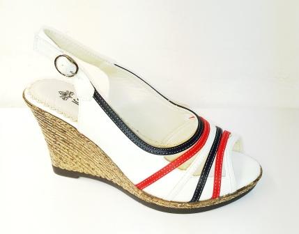 Sandale dama albe cu portocaliu si negru, cu talpa ortopedica